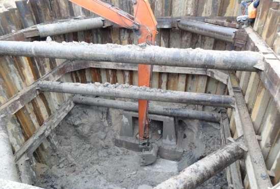Укрепление стенок котлованов с помощью шпунтового ограждения.