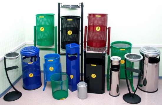 Типы и формы урн для мусора