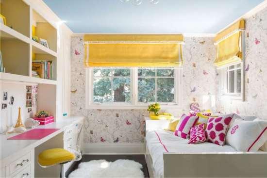 Римские и рулонные шторы в интерьере детской комнаты