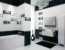 Черно-белое оформление ванной комнаты