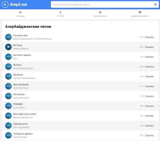Популярные песни от азербайджанских исполнителей на сайте xmp3.net